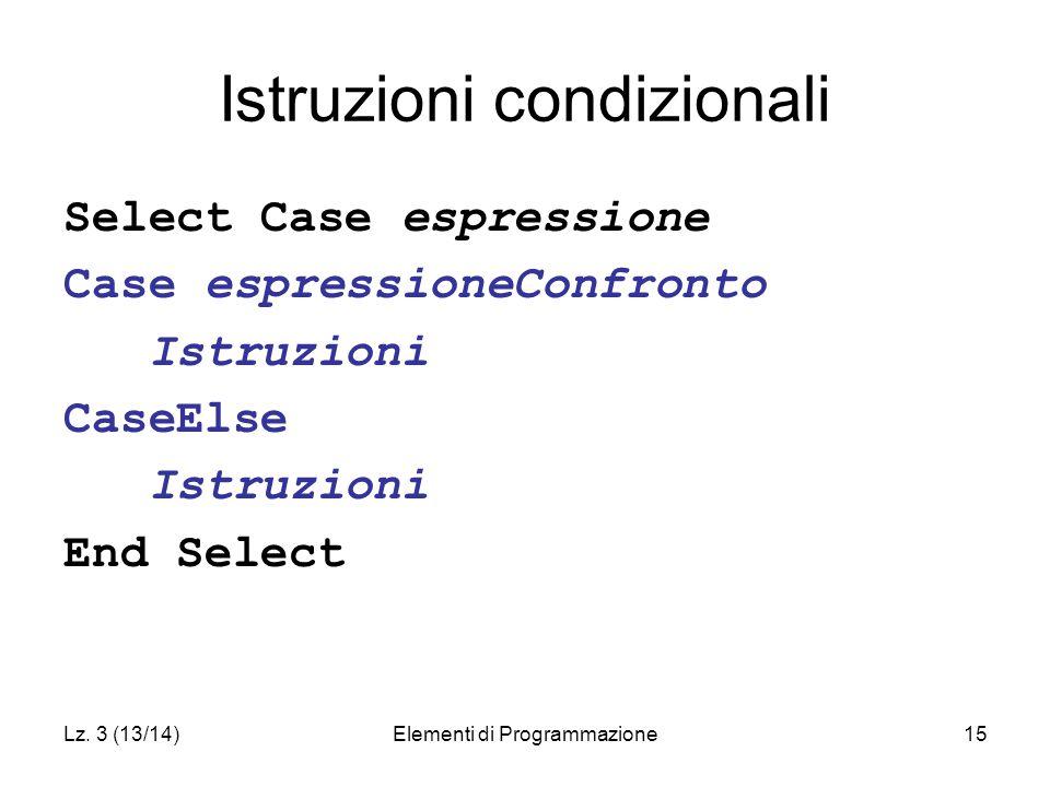 Lz. 3 (13/14)Elementi di Programmazione15 Istruzioni condizionali Select Case espressione Case espressioneConfronto Istruzioni CaseElse Istruzioni End