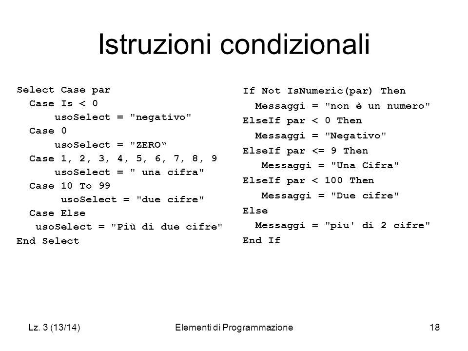Lz. 3 (13/14)Elementi di Programmazione18 Istruzioni condizionali Select Case par Case Is < 0 usoSelect =
