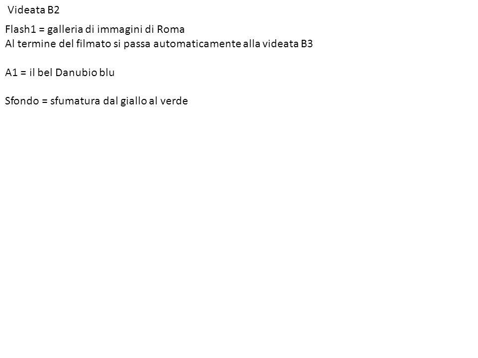 Videata B2 Flash1 = galleria di immagini di Roma Al termine del filmato si passa automaticamente alla videata B3 A1 = il bel Danubio blu Sfondo = sfumatura dal giallo al verde