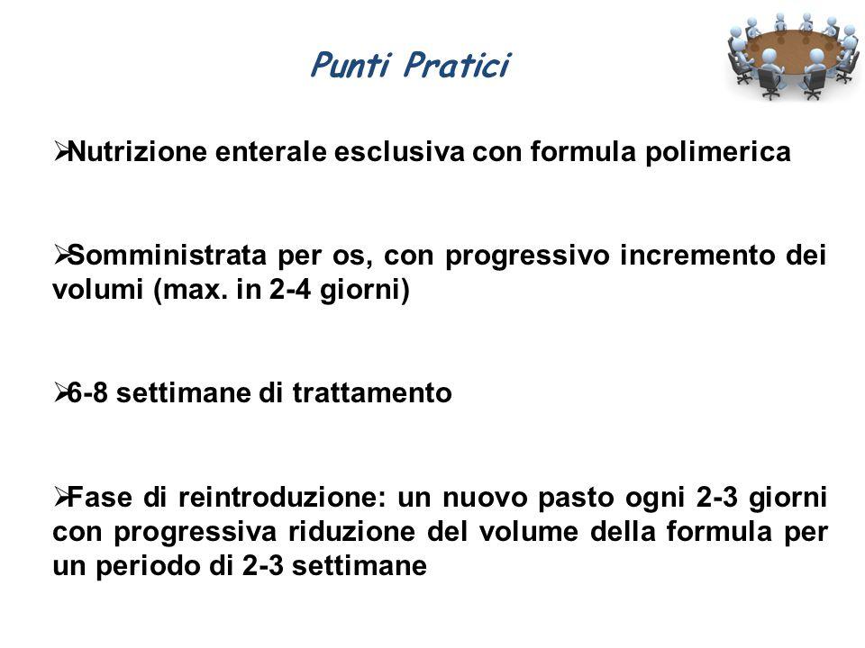 Punti Pratici  Nutrizione enterale esclusiva con formula polimerica  Somministrata per os, con progressivo incremento dei volumi (max. in 2-4 giorni
