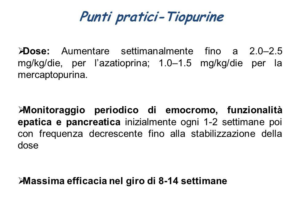 Punti pratici-Tiopurine  Dose: Aumentare settimanalmente fino a 2.0–2.5 mg/kg/die, per l'azatioprina; 1.0–1.5 mg/kg/die per la mercaptopurina.  Moni
