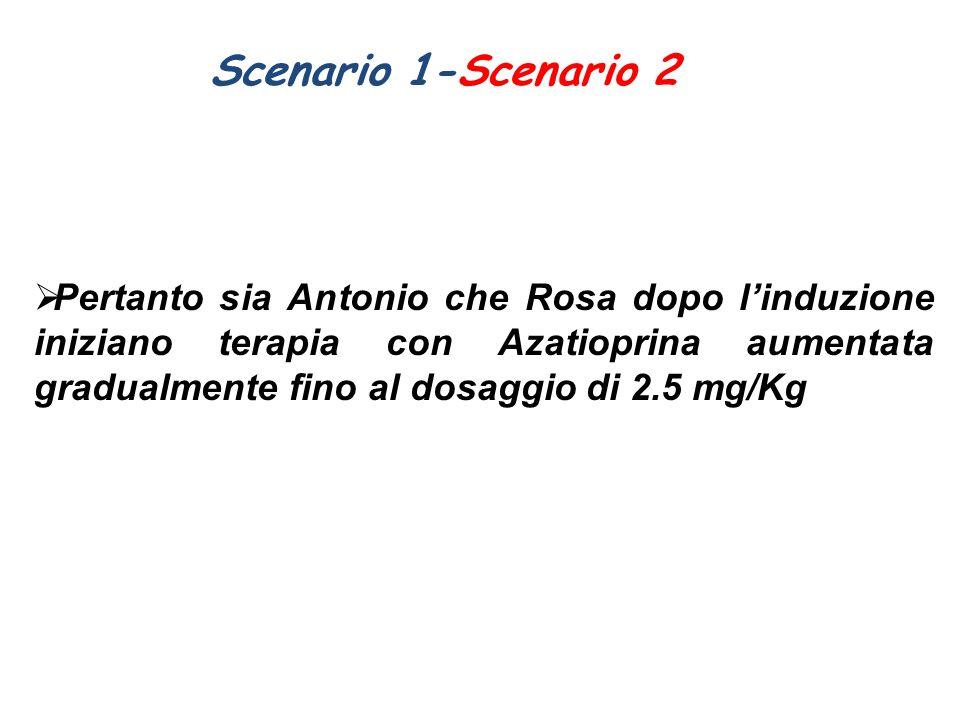 Scenario 1-Scenario 2  Pertanto sia Antonio che Rosa dopo l'induzione iniziano terapia con Azatioprina aumentata gradualmente fino al dosaggio di 2.5