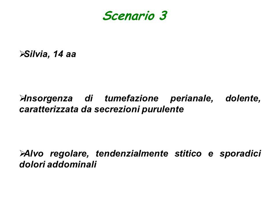 Scenario 3  Silvia, 14 aa  Insorgenza di tumefazione perianale, dolente, caratterizzata da secrezioni purulente  Alvo regolare, tendenzialmente sti