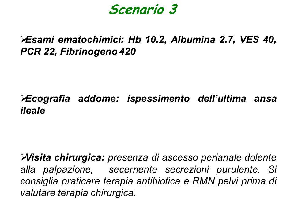 Scenario 3  Esami ematochimici: Hb 10.2, Albumina 2.7, VES 40, PCR 22, Fibrinogeno 420  Ecografia addome: ispessimento dell'ultima ansa ileale  Vis