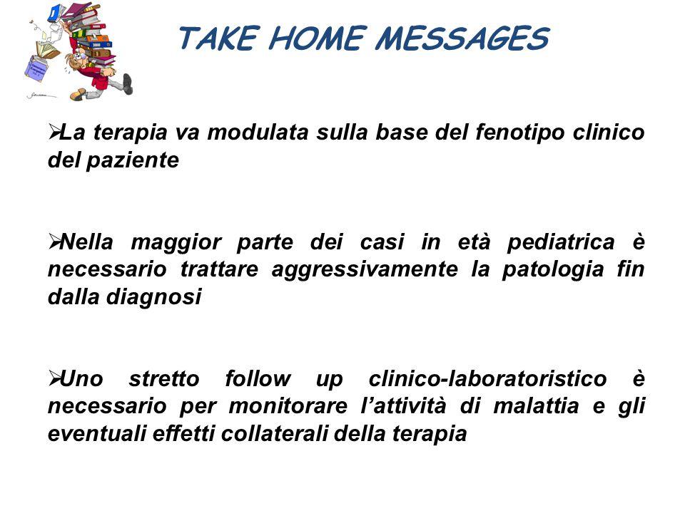 TAKE HOME MESSAGES  La terapia va modulata sulla base del fenotipo clinico del paziente  Nella maggior parte dei casi in età pediatrica è necessario
