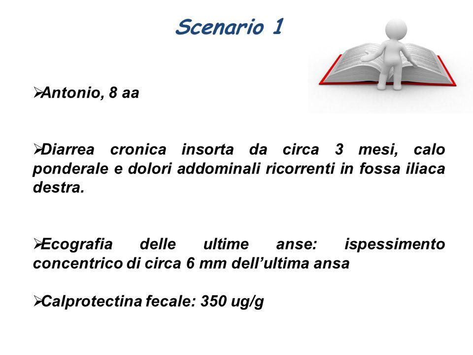 Scenario 1  Antonio, 8 aa  Diarrea cronica insorta da circa 3 mesi, calo ponderale e dolori addominali ricorrenti in fossa iliaca destra.  Ecografi
