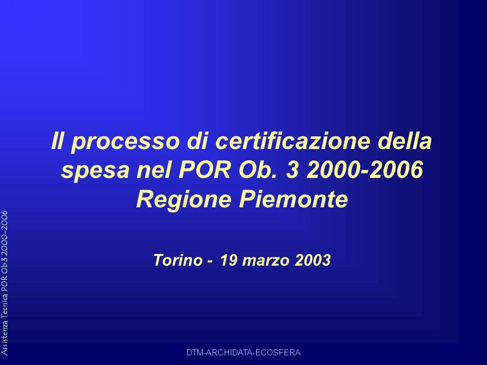 Assistenza Tecnica POR Ob.3 2000-2006 DTM-ARCHIDATA-ECOSFERA Il processo di certificazione della spesa nel POR Ob.