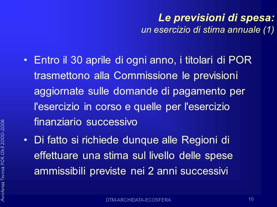 Assistenza Tecnica POR Ob.3 2000-2006 DTM-ARCHIDATA-ECOSFERA 10 Le previsioni di spesa: un esercizio di stima annuale (1) Entro il 30 aprile di ogni anno, i titolari di POR trasmettono alla Commissione le previsioni aggiornate sulle domande di pagamento per l esercizio in corso e quelle per l esercizio finanziario successivo Di fatto si richiede dunque alle Regioni di effettuare una stima sul livello delle spese ammissibili previste nei 2 anni successivi