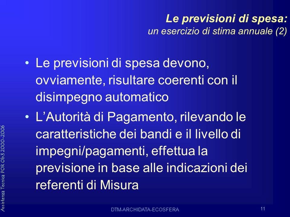 Assistenza Tecnica POR Ob.3 2000-2006 DTM-ARCHIDATA-ECOSFERA 11 Le previsioni di spesa: un esercizio di stima annuale (2) Le previsioni di spesa devono, ovviamente, risultare coerenti con il disimpegno automatico L'Autorità di Pagamento, rilevando le caratteristiche dei bandi e il livello di impegni/pagamenti, effettua la previsione in base alle indicazioni dei referenti di Misura