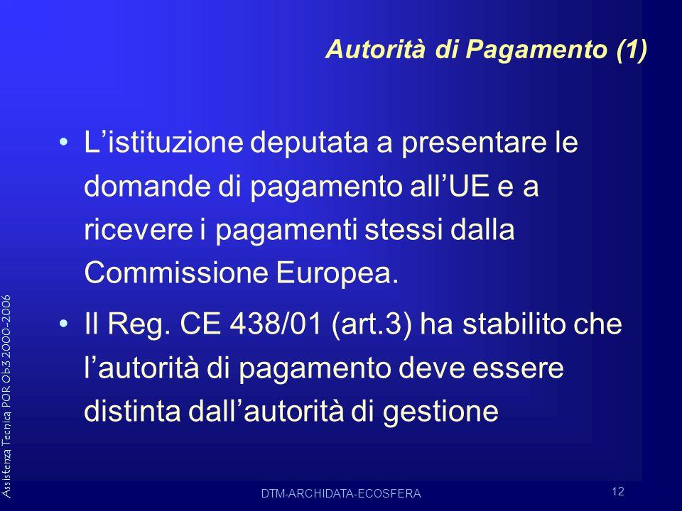 Assistenza Tecnica POR Ob.3 2000-2006 DTM-ARCHIDATA-ECOSFERA 12 Autorità di Pagamento (1) L'istituzione deputata a presentare le domande di pagamento all'UE e a ricevere i pagamenti stessi dalla Commissione Europea.