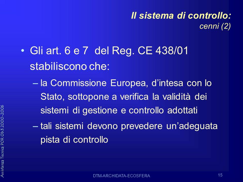 Assistenza Tecnica POR Ob.3 2000-2006 DTM-ARCHIDATA-ECOSFERA 15 Il sistema di controllo: cenni (2) Gli art.