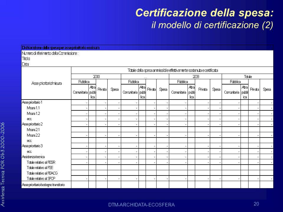 Assistenza Tecnica POR Ob.3 2000-2006 DTM-ARCHIDATA-ECOSFERA 20 Certificazione della spesa: il modello di certificazione (2)