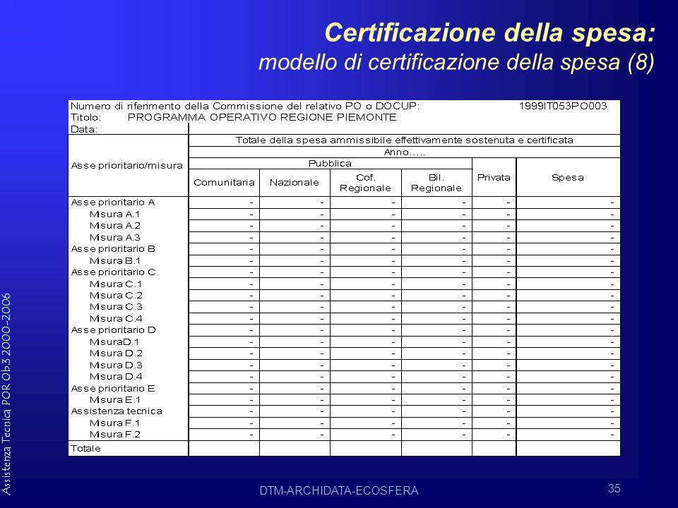 Assistenza Tecnica POR Ob.3 2000-2006 DTM-ARCHIDATA-ECOSFERA 35 Certificazione della spesa: modello di certificazione della spesa (8)
