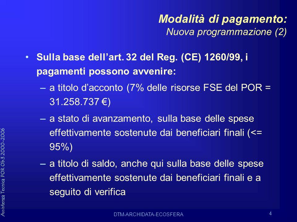 Assistenza Tecnica POR Ob.3 2000-2006 DTM-ARCHIDATA-ECOSFERA 4 Modalità di pagamento: Nuova programmazione (2) Sulla base dell'art.
