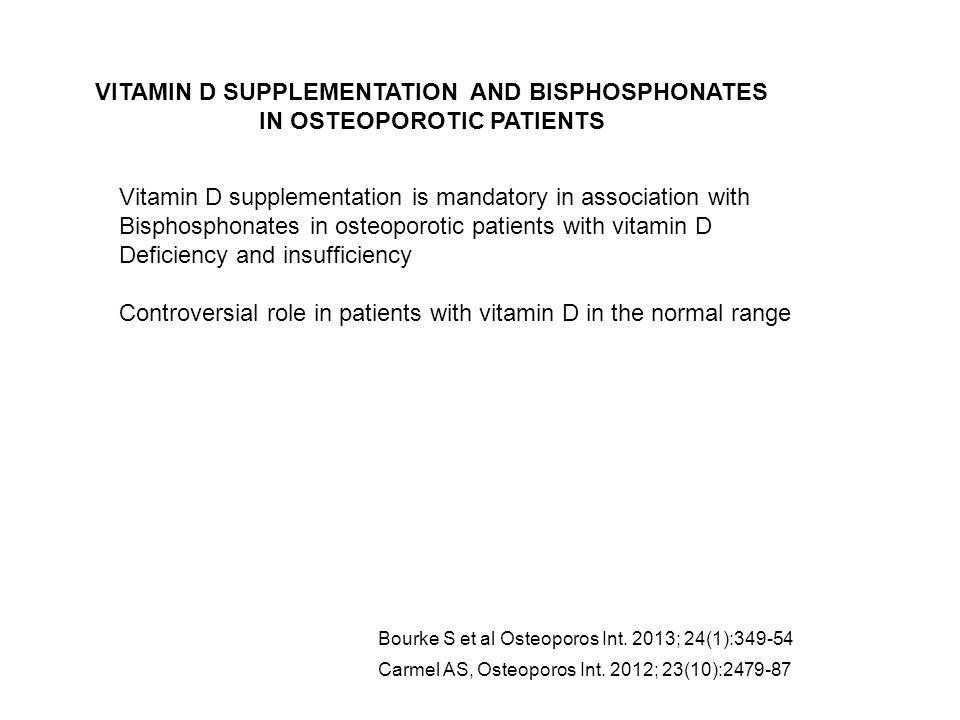 Carmel AS, Osteoporos Int. 2012; 23(10):2479-87 Bourke S et al Osteoporos Int. 2013; 24(1):349-54 Vitamin D supplementation is mandatory in associatio