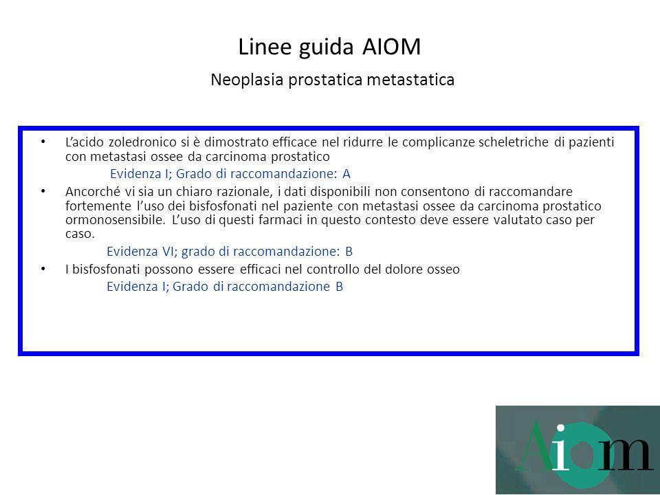 Linee guida AIOM Neoplasia prostatica metastatica L'acido zoledronico si è dimostrato efficace nel ridurre le complicanze scheletriche di pazienti con