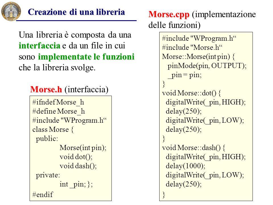 interfaccia implementate le funzioni Una libreria è composta da una interfaccia e da un file in cui sono implementate le funzioni che la libreria svol