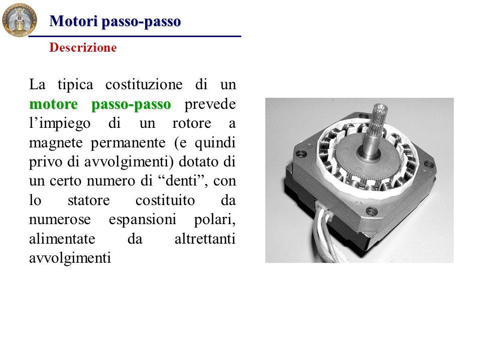 motore passo-passo La tipica costituzione di un motore passo-passo prevede l'impiego di un rotore a magnete permanente (e quindi privo di avvolgimenti