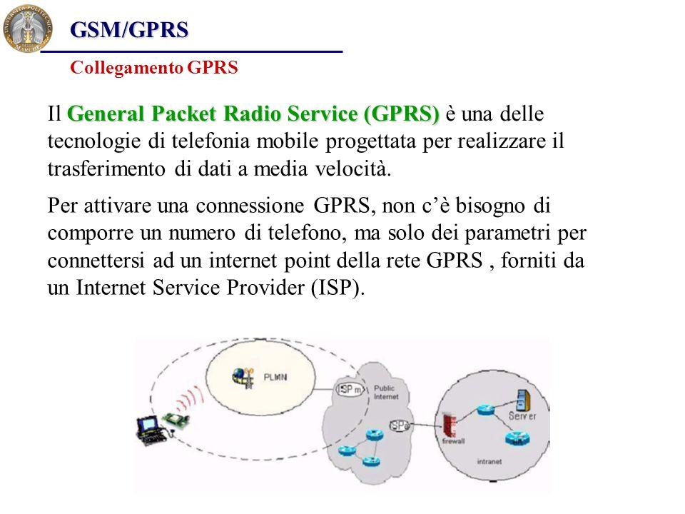 GSM/GPRS Collegamento GPRS Per attivare una connessione GPRS, non c'è bisogno di comporre un numero di telefono, ma solo dei parametri per connettersi