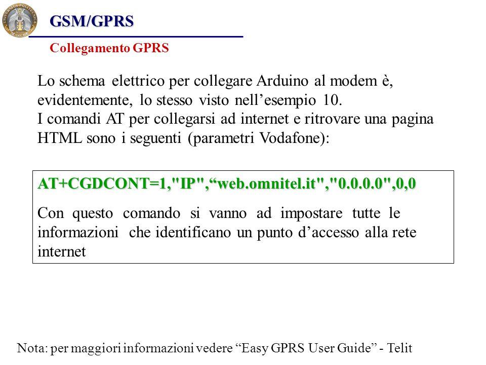 GSM/GPRS Collegamento GPRS Lo schema elettrico per collegare Arduino al modem è, evidentemente, lo stesso visto nell'esempio 10. I comandi AT per coll