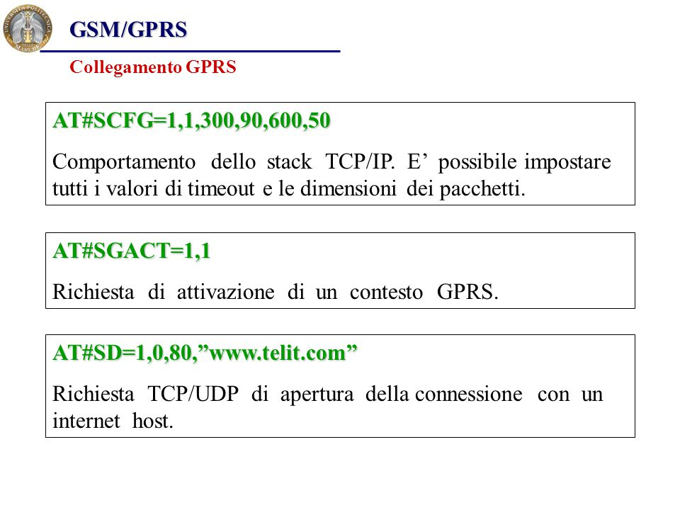 GSM/GPRS Collegamento GPRS AT#SCFG=1,1,300,90,600,50 Comportamento dello stack TCP/IP.