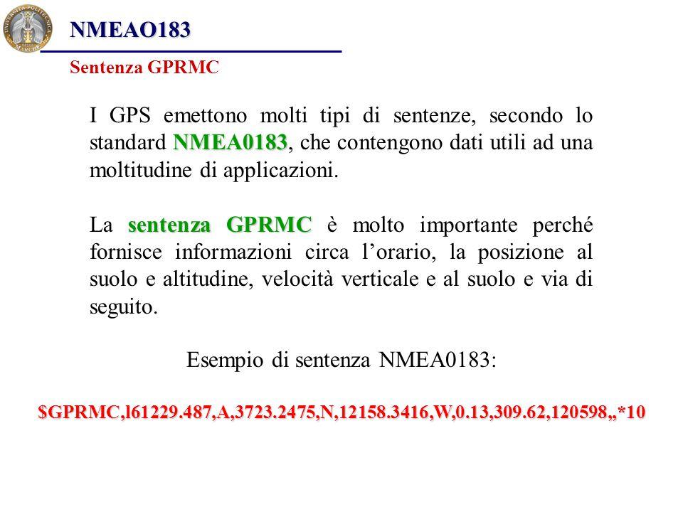 NMEA0183 I GPS emettono molti tipi di sentenze, secondo lo standard NMEA0183, che contengono dati utili ad una moltitudine di applicazioni. sentenza G