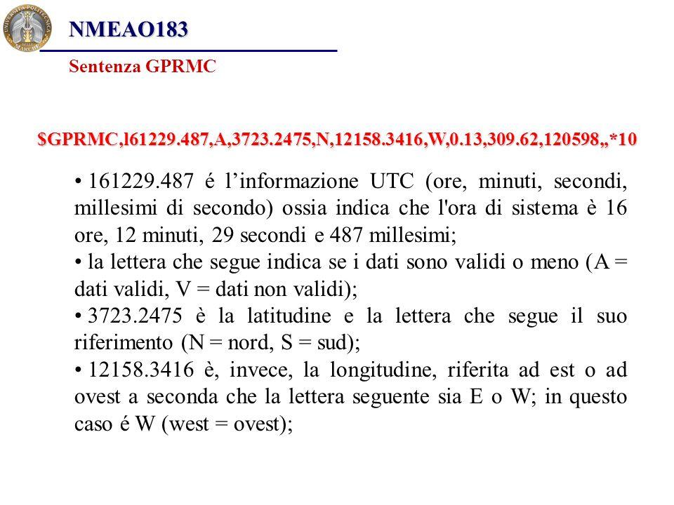161229.487 é l'informazione UTC (ore, minuti, secondi, millesimi di secondo) ossia indica che l'ora di sistema è 16 ore, 12 minuti, 29 secondi e 487 m