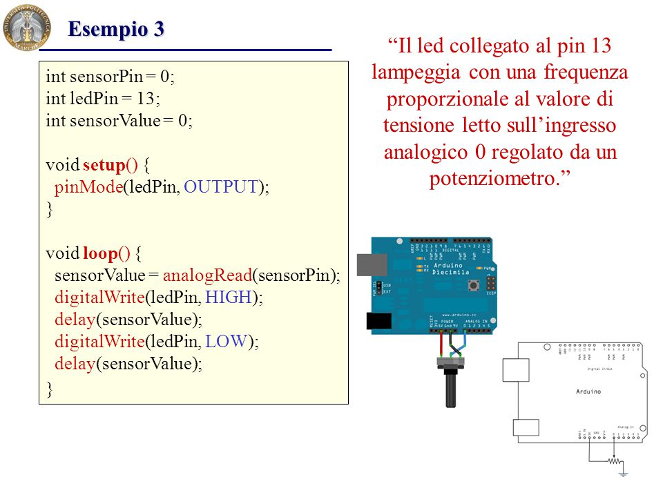 byte val; void setup() { Serial.begin(4800); } void loop() { while (Serial.available()){ val = Serial.read(); Serial.write(val); } Esempio 11 I dati trasmessi sulla seriale dal GPS vengono intercettati e inviati tramite i comandi seriali al Personal Computer dove possono essere visualizzati ed interpretati.