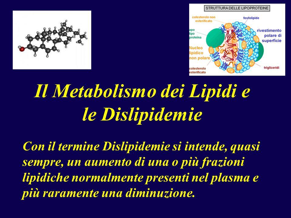 Il Metabolismo dei Lipidi e le Dislipidemie Con il termine Dislipidemie si intende, quasi sempre, un aumento di una o più frazioni lipidiche normalmente presenti nel plasma e più raramente una diminuzione.