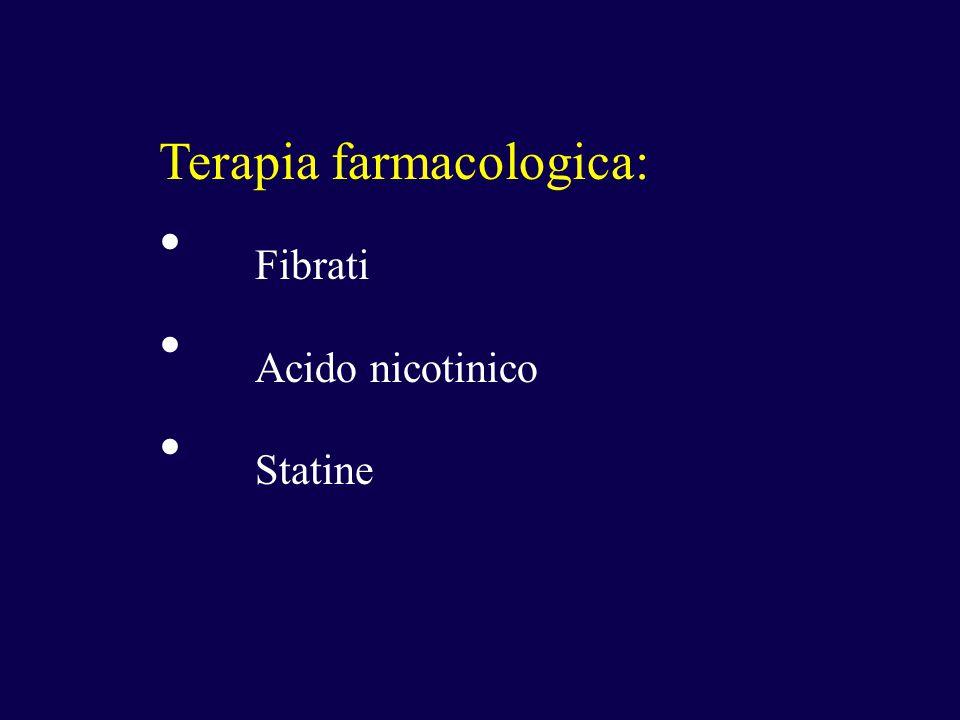 Terapia farmacologica: Fibrati Acido nicotinico Statine