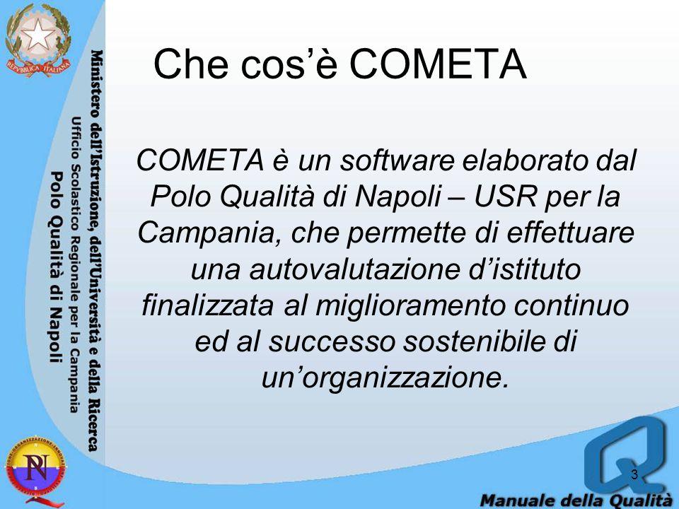 Che cos'è COMETA COMETA è un software elaborato dal Polo Qualità di Napoli – USR per la Campania, che permette di effettuare una autovalutazione d'istituto finalizzata al miglioramento continuo ed al successo sostenibile di un'organizzazione.