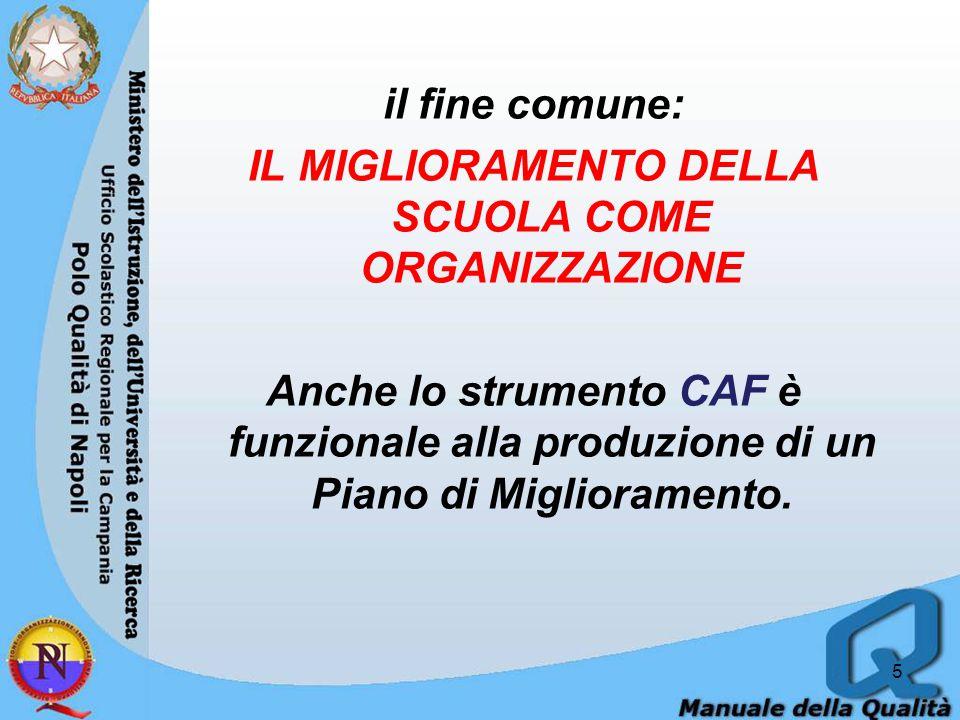 il fine comune: IL MIGLIORAMENTO DELLA SCUOLA COME ORGANIZZAZIONE Anche lo strumento CAF è funzionale alla produzione di un Piano di Miglioramento.
