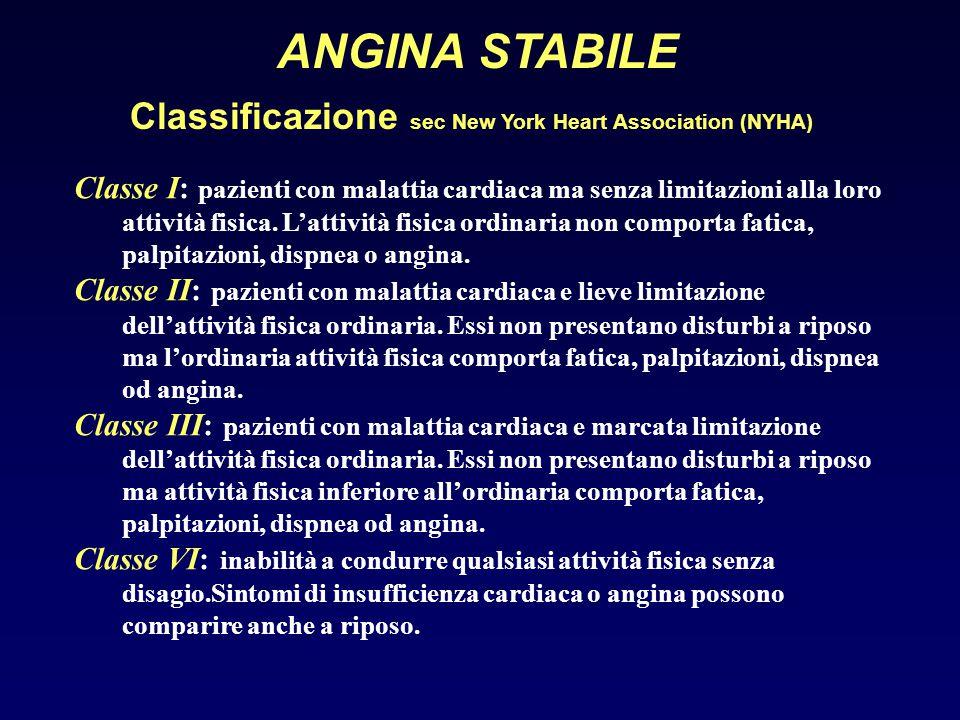 ANGINA STABILE Classificazione sec New York Heart Association (NYHA) Classe I: pazienti con malattia cardiaca ma senza limitazioni alla loro attività