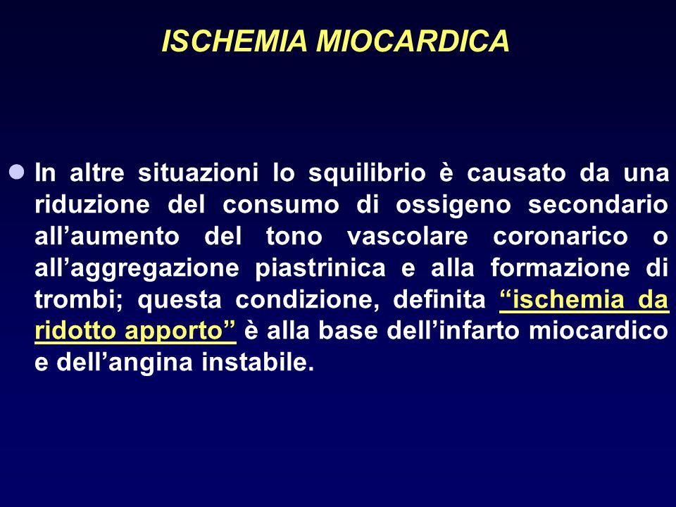ANGINA INSTABILE CLASSIFICAZIONE (sec Braunwald) Condizioni cliniche A-Sviluppo in presenza di condizioni extracardiache che intensificano l'ischemia miocardica (angina secondaria) B-Sviluppo in assenza di condizioni extracardiache (angina primaria) C-Sviluppo entro 2 settimane dall'infarto miocardico (angina post- infartuale) Gravità I-Angina di nuova insorgenza, grave o accelerata con assenza di dolore a riposo negli ultimi 2 mesi II-Angina a riposo, subacuta.