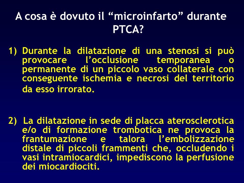 """A cosa è dovuto il """"microinfarto"""" durante PTCA? 1)Durante la dilatazione di una stenosi si può provocare l'occlusione temporanea o permanente di un pi"""