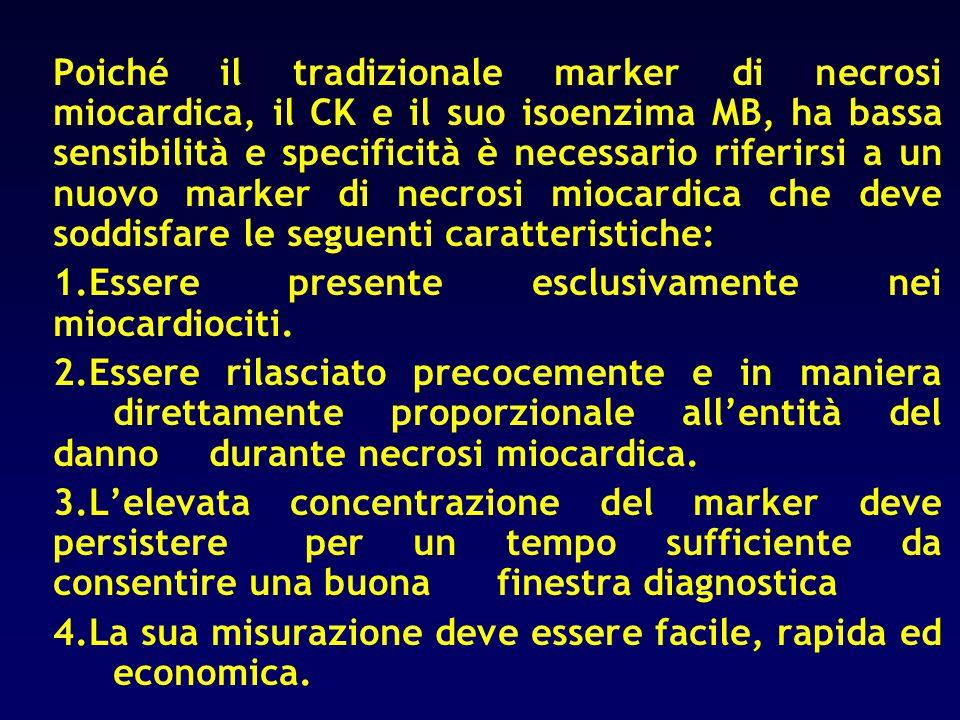 Poiché il tradizionale marker di necrosi miocardica, il CK e il suo isoenzima MB, ha bassa sensibilità e specificità è necessario riferirsi a un nuovo
