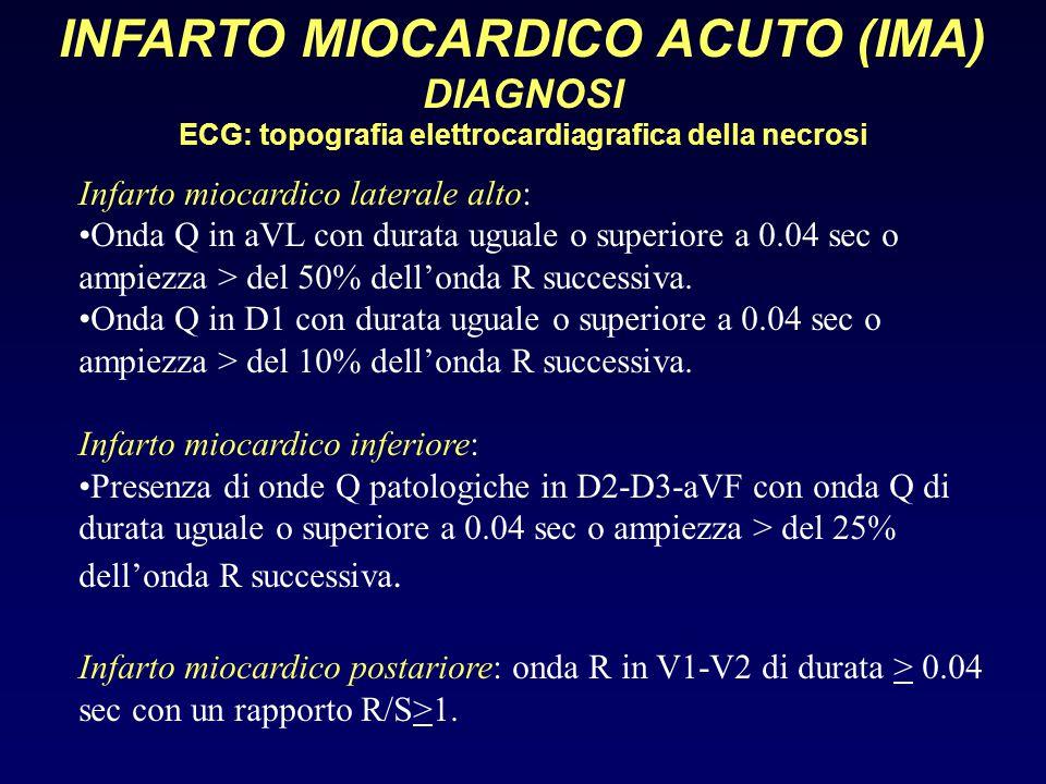 INFARTO MIOCARDICO ACUTO (IMA) DIAGNOSI ECG: topografia elettrocardiagrafica della necrosi Infarto miocardico laterale alto: Onda Q in aVL con durata