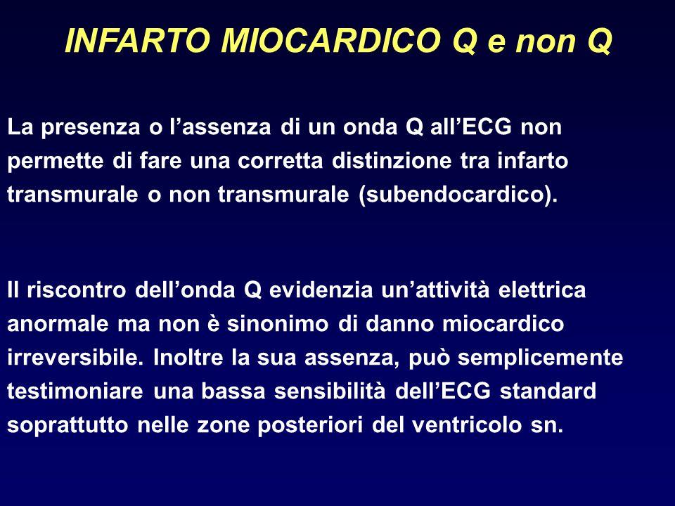 INFARTO MIOCARDICO Q e non Q La presenza o l'assenza di un onda Q all'ECG non permette di fare una corretta distinzione tra infarto transmurale o non