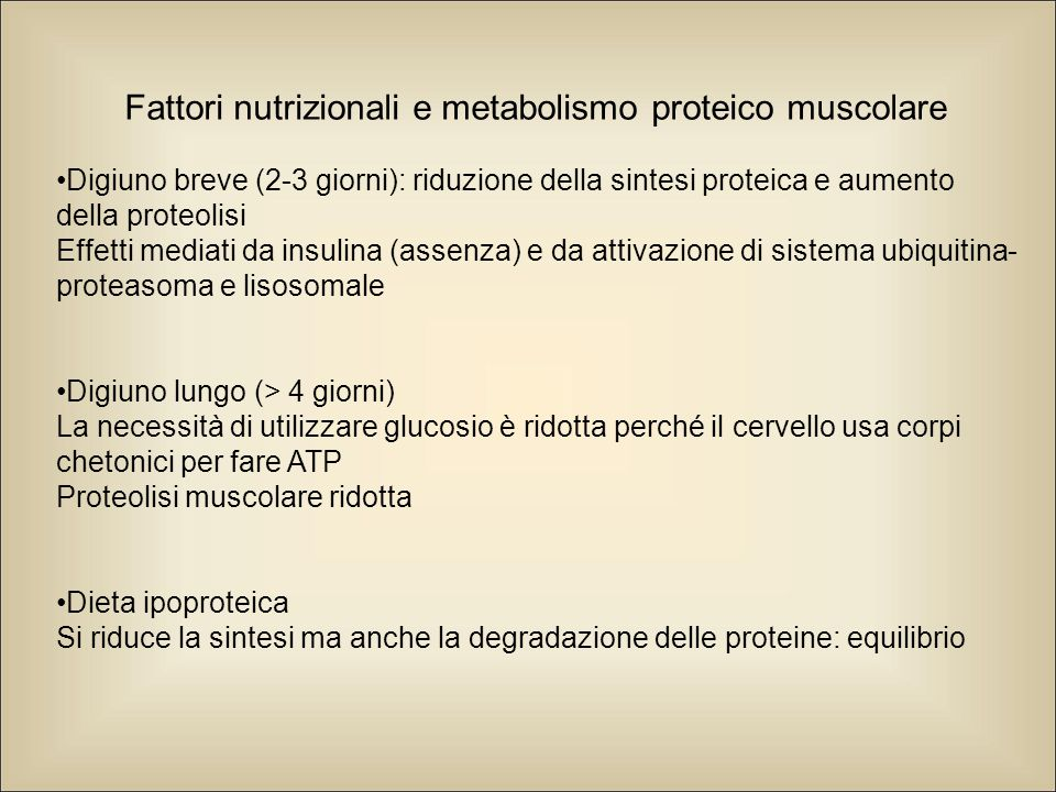 Fattori nutrizionali e metabolismo proteico muscolare Digiuno breve (2-3 giorni): riduzione della sintesi proteica e aumento della proteolisi Effetti mediati da insulina (assenza) e da attivazione di sistema ubiquitina- proteasoma e lisosomale Digiuno lungo (> 4 giorni) La necessità di utilizzare glucosio è ridotta perché il cervello usa corpi chetonici per fare ATP Proteolisi muscolare ridotta Dieta ipoproteica Si riduce la sintesi ma anche la degradazione delle proteine: equilibrio