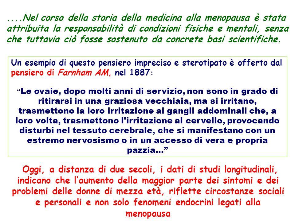 ....Nel corso della storia della medicina alla menopausa è stata attribuita la responsabilità di condizioni fisiche e mentali, senza che tuttavia ciò