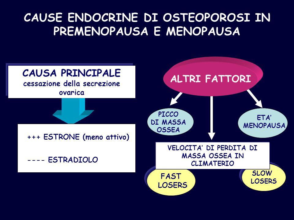 CAUSE ENDOCRINE DI OSTEOPOROSI IN PREMENOPAUSA E MENOPAUSA CAUSA PRINCIPALE cessazione della secrezione ovarica +++ ESTRONE (meno attivo) ---- ESTRADI