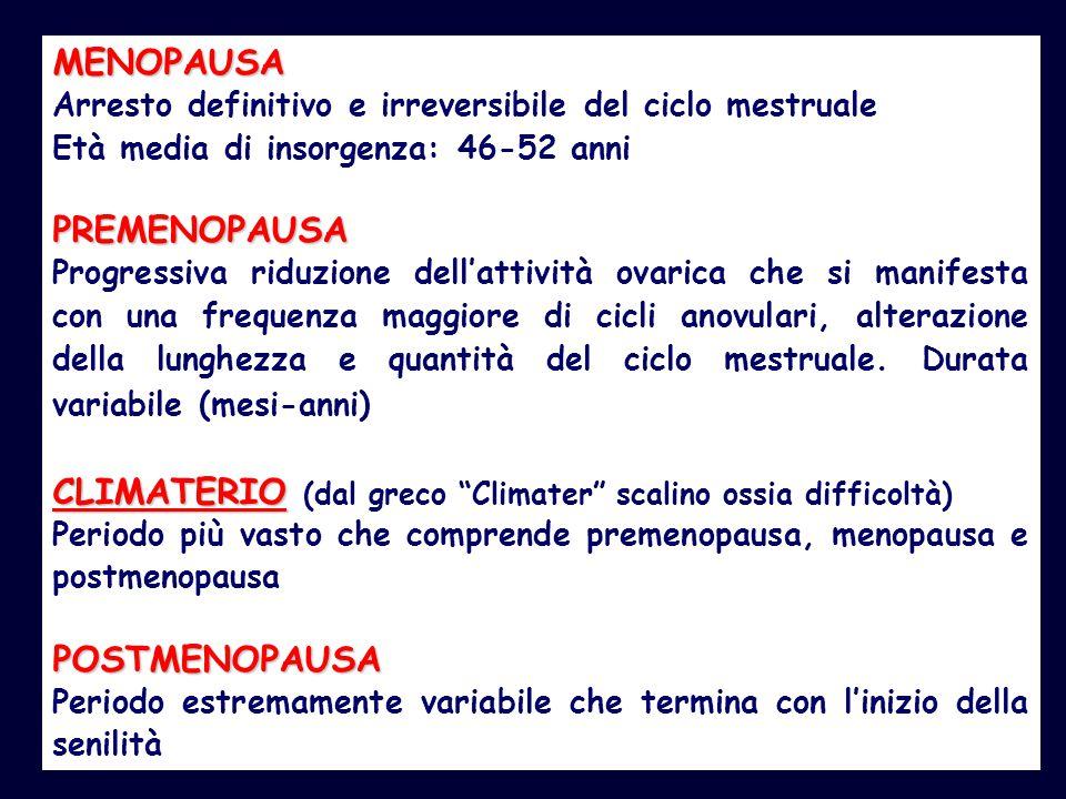 MENOPAUSA Arresto definitivo e irreversibile del ciclo mestruale Età media di insorgenza: 46-52 anniPREMENOPAUSA Progressiva riduzione dell'attività o
