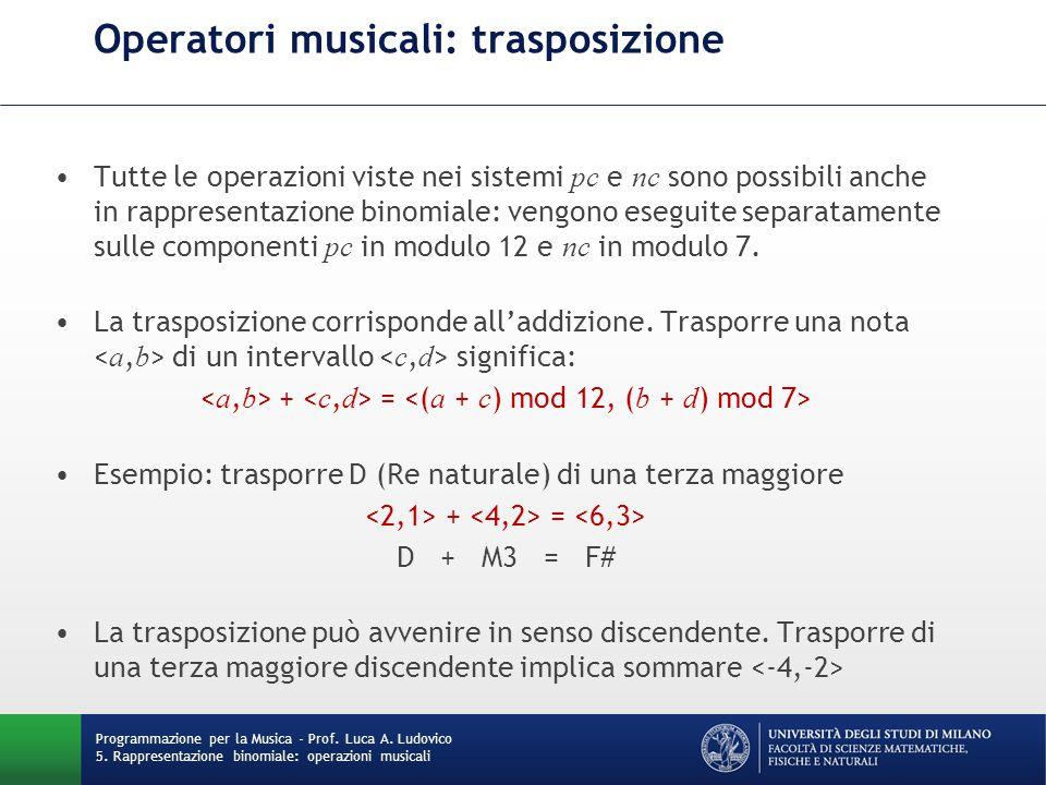 Operatori musicali: trasposizione Tutte le operazioni viste nei sistemi pc e nc sono possibili anche in rappresentazione binomiale: vengono eseguite s