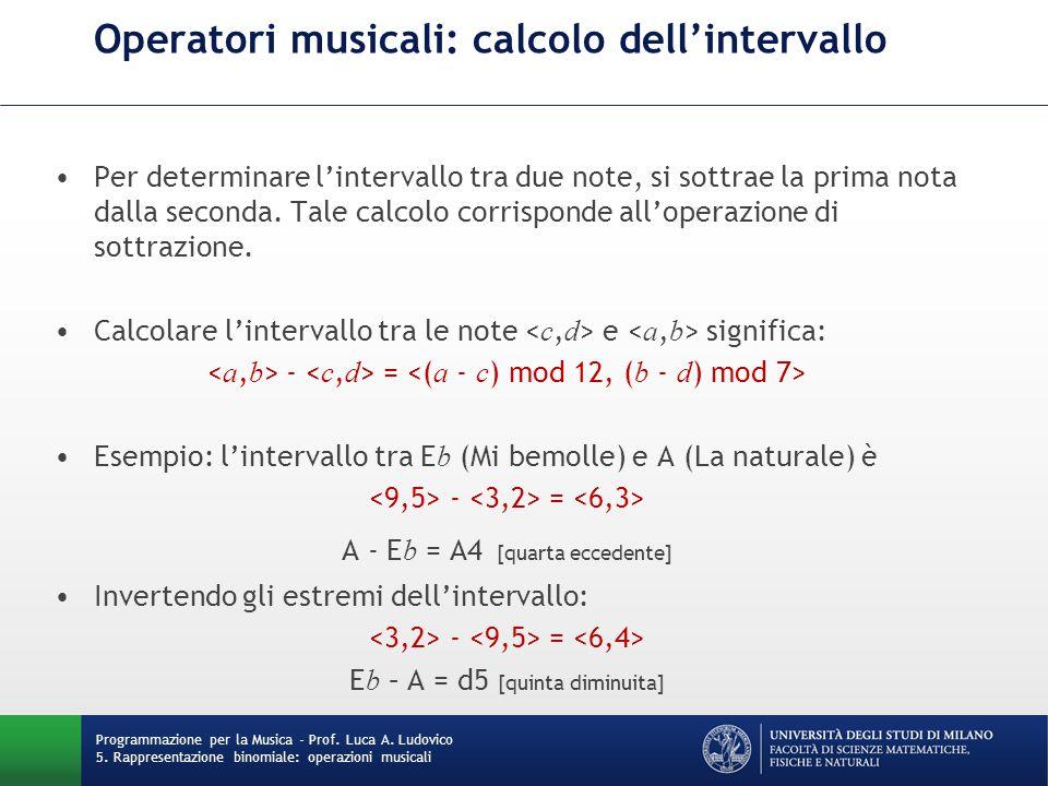 Operatori musicali: calcolo dell'intervallo Per determinare l'intervallo tra due note, si sottrae la prima nota dalla seconda. Tale calcolo corrispond