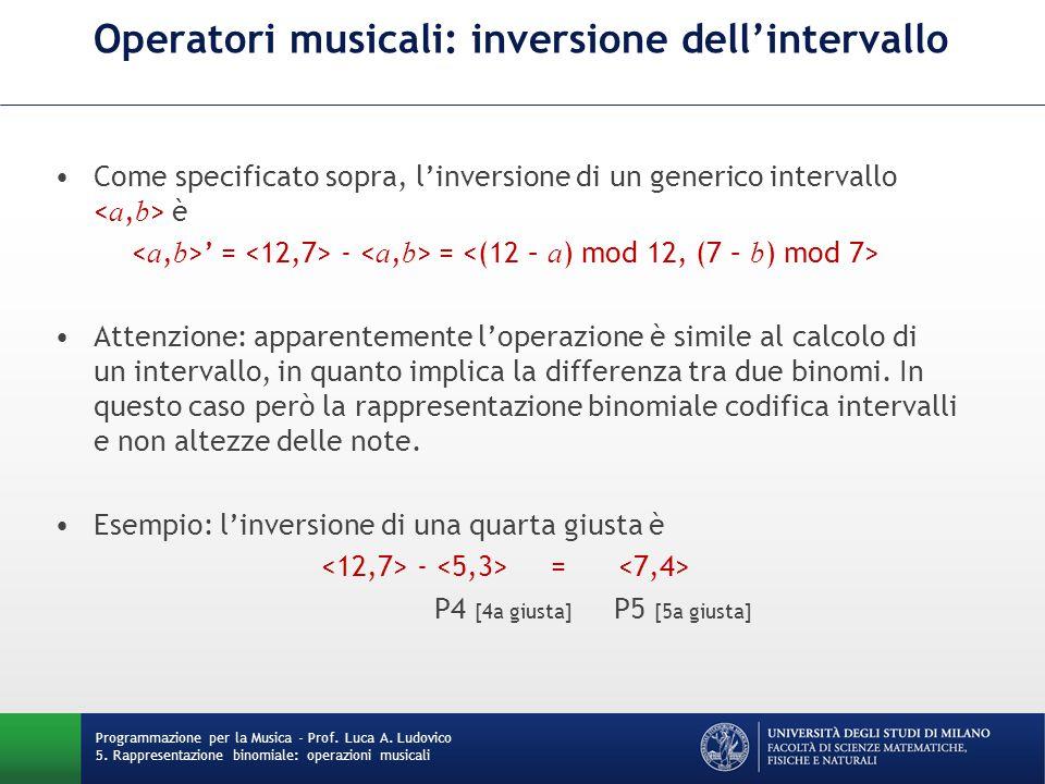 Operatori musicali: inversione dell'intervallo Come specificato sopra, l'inversione di un generico intervallo è ' = - = Attenzione: apparentemente l'o
