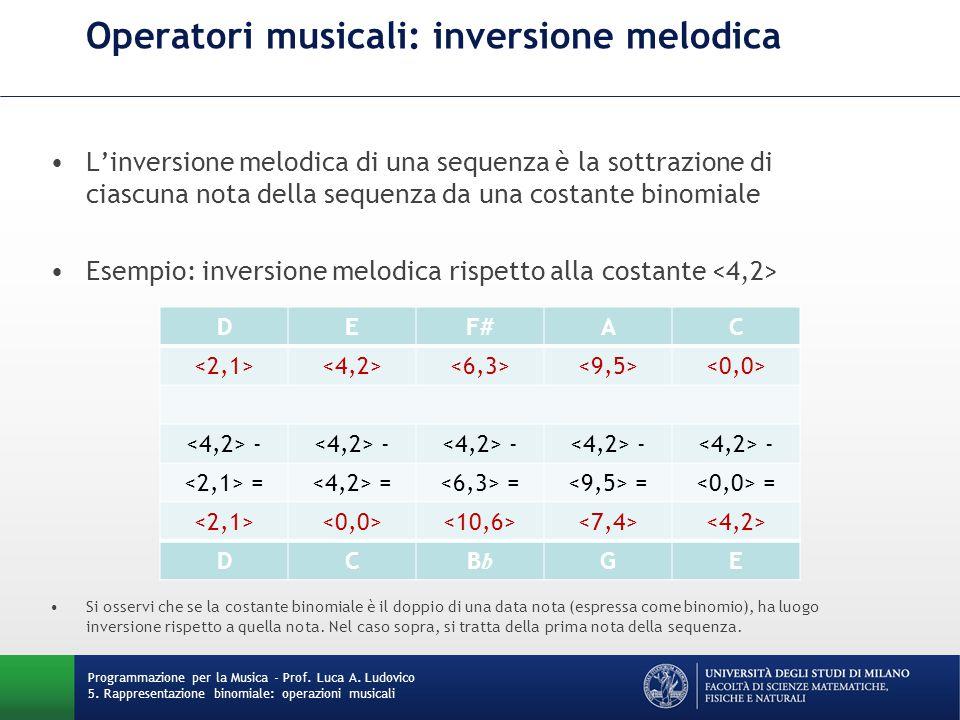 Operatori musicali: inversione melodica L'inversione melodica di una sequenza è la sottrazione di ciascuna nota della sequenza da una costante binomia