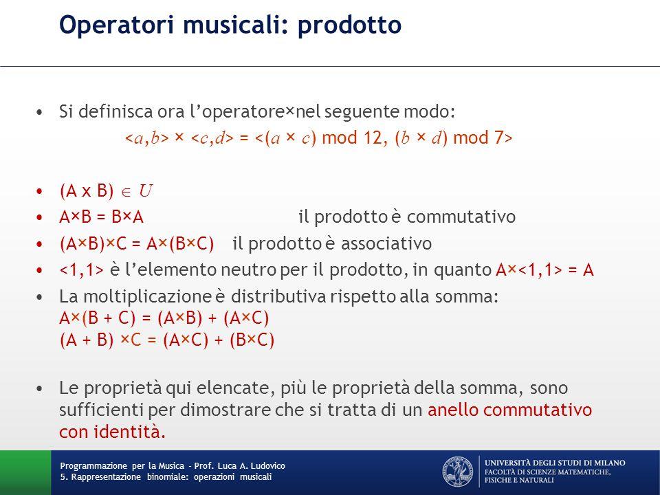 Operatori musicali: prodotto Si definisca ora l'operatore×nel seguente modo: × = (A x B)  U A×B = B×A il prodotto è commutativo (A×B)×C = A×(B×C)il p