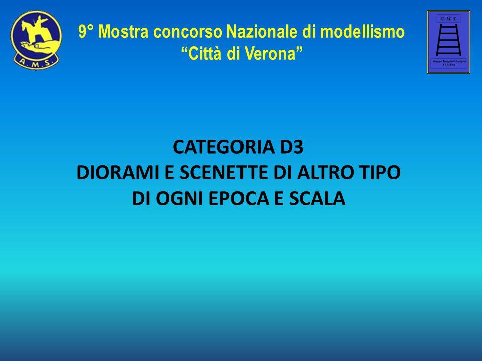"""CATEGORIA D3 DIORAMI E SCENETTE DI ALTRO TIPO DI OGNI EPOCA E SCALA 9° Mostra concorso Nazionale di modellismo """"Città di Verona"""""""