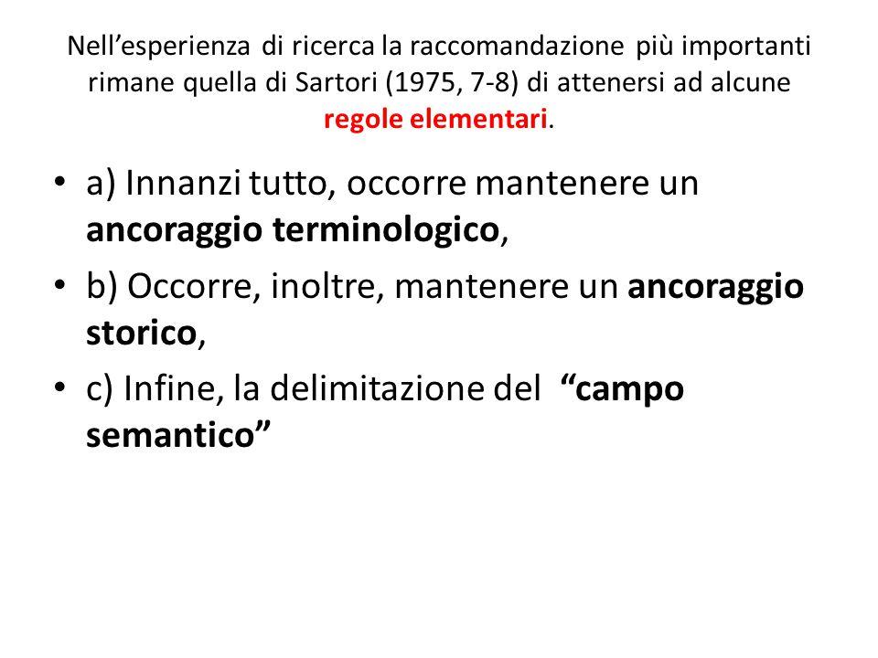 Nell'esperienza di ricerca la raccomandazione più importanti rimane quella di Sartori (1975, 7-8) di attenersi ad alcune regole elementari. a) Innanzi