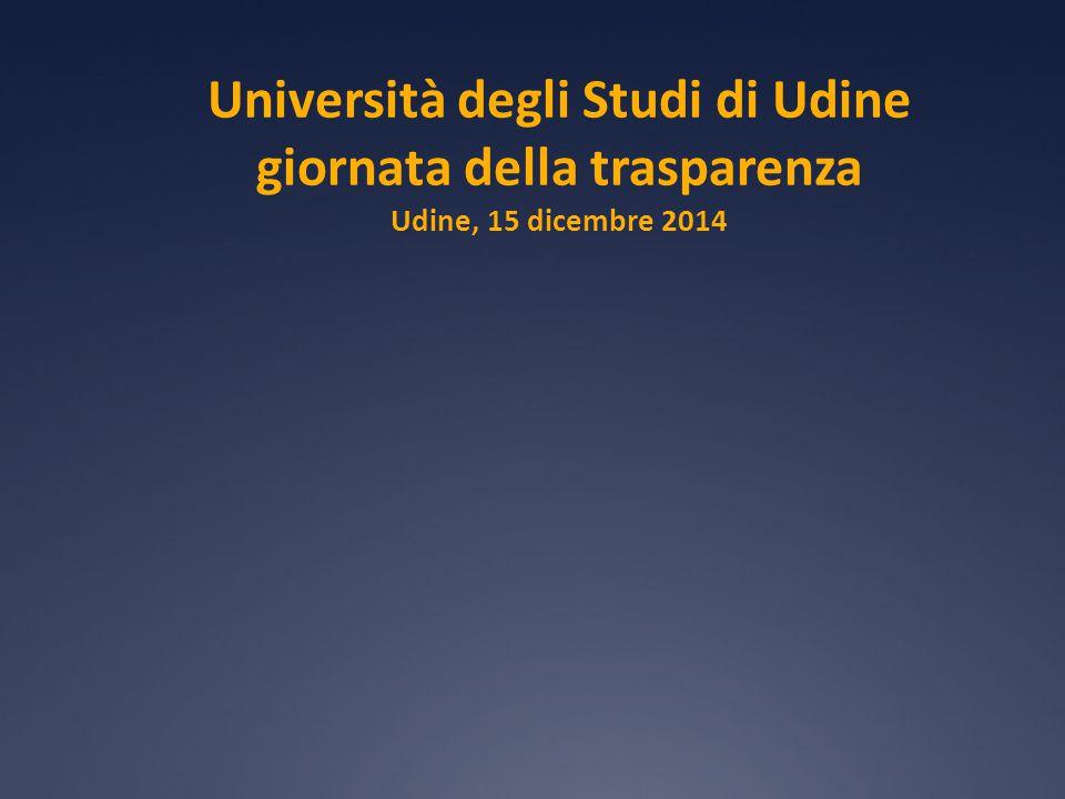 Università degli Studi di Udine giornata della trasparenza Udine, 15 dicembre 2014
